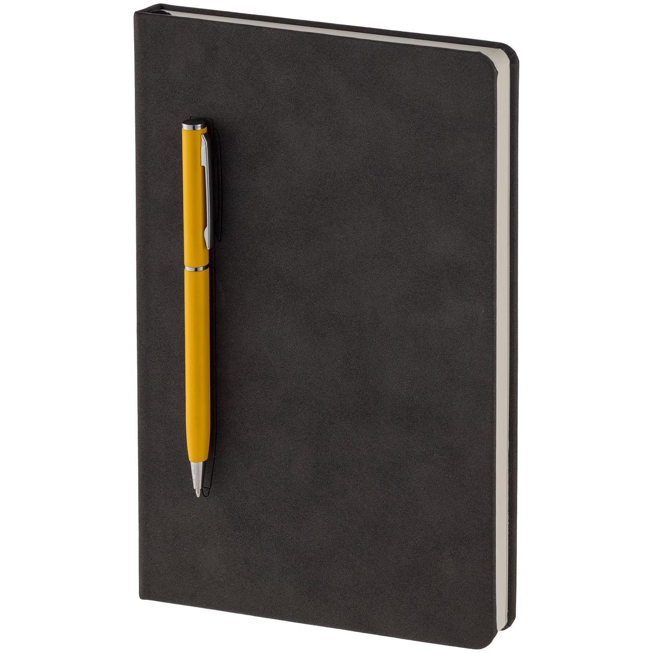 Блокнот Magnet Chrome с ручкой, черно-желтый (артикул 15016.80)