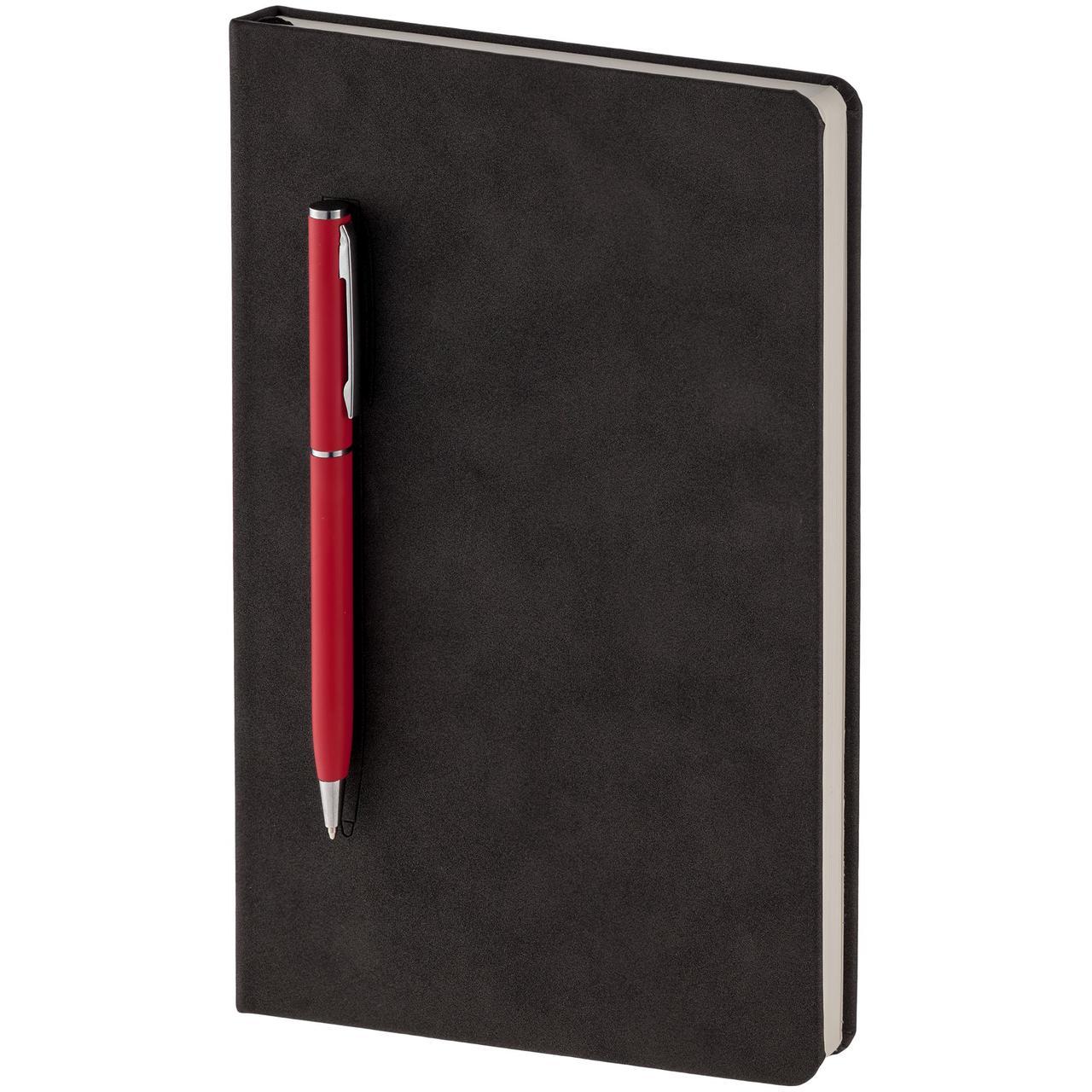 Блокнот Magnet Chrome с ручкой, черно-красный (артикул 15016.50)