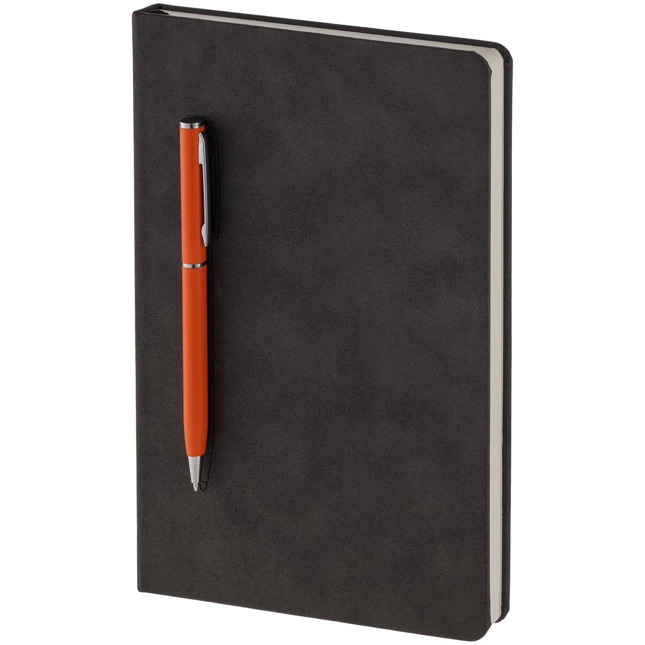 Блокнот Magnet Chrome с ручкой, черно-оранжевый (артикул 15016.20)