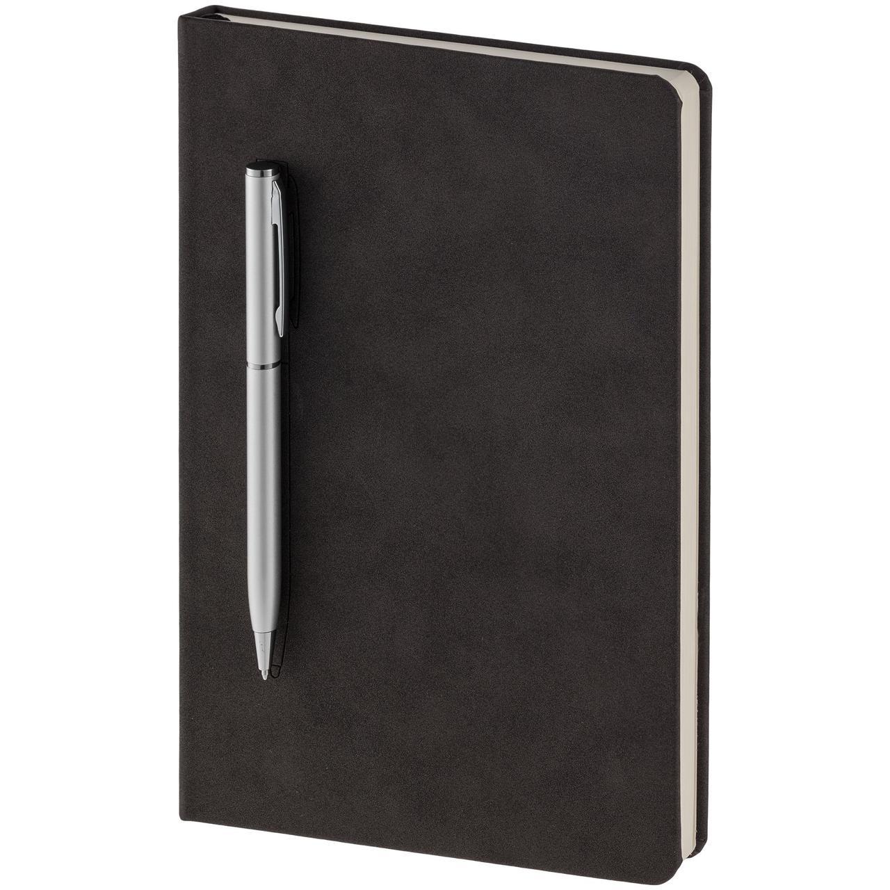 Блокнот Magnet Chrome с ручкой, черно-серый (артикул 15016.10)