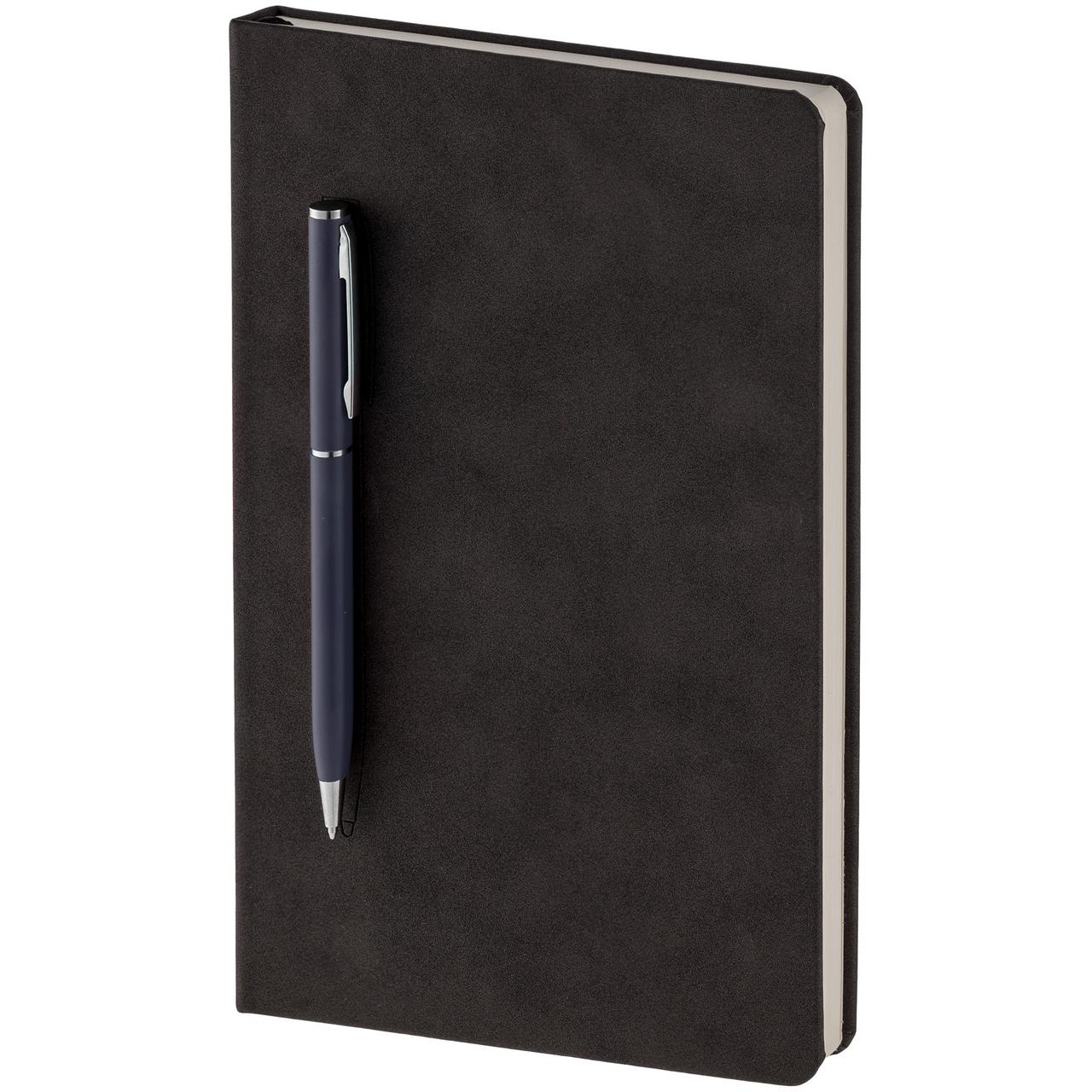 Блокнот Magnet Chrome с ручкой, черно-синий (артикул 15016.40)
