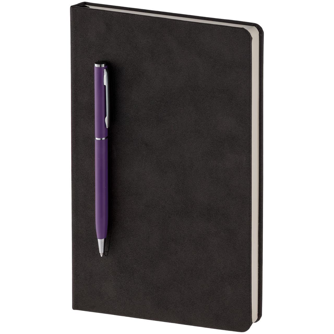 Блокнот Magnet Chrome с ручкой, черно-фиолетовый (артикул 15016.70)
