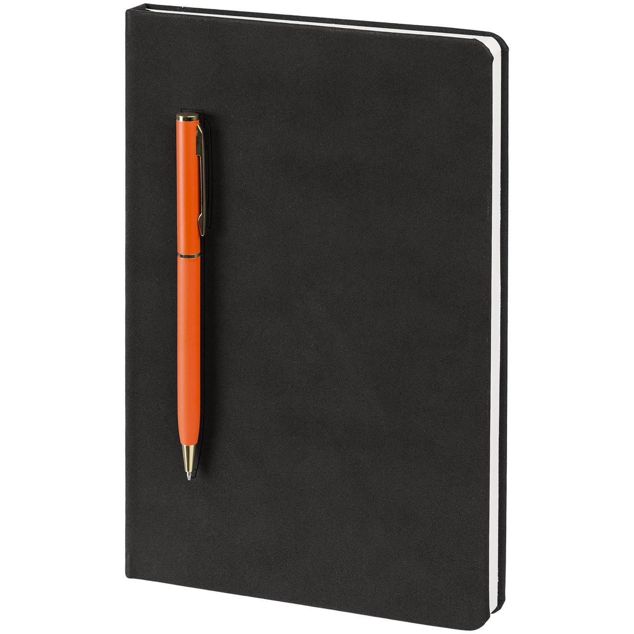 Блокнот Magnet Gold с ручкой, черно-оранжевый (артикул 15050.20)