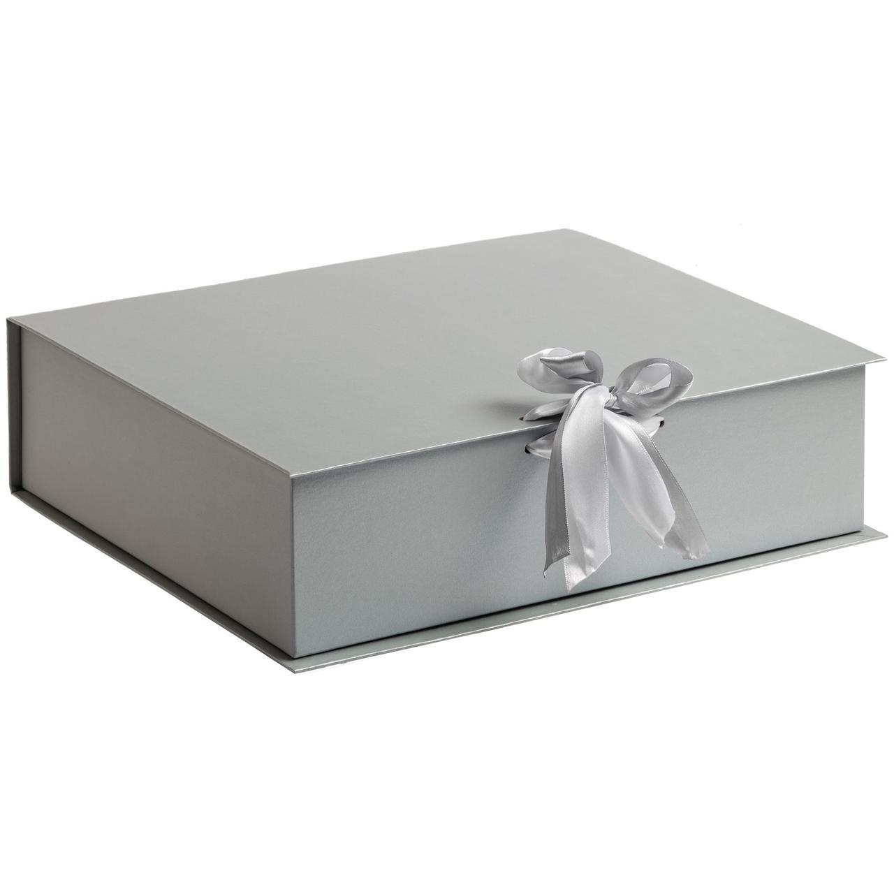 Коробка на лентах Tie Up, серебристая (артикул 10600.10)