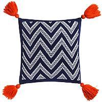 Подушка Levin, сине-белая с оранжевыми кистями (артикул 7601.46)