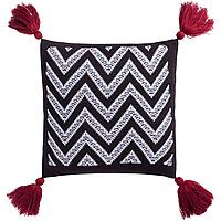 Подушка Levin, черно-белая с красными кистями (артикул 7601.35)
