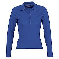 Рубашка поло женская с длинным рукавом Podium 210 ярко-синяя (артикул 11317241)