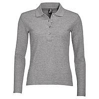 Рубашка поло женская с длинным рукавом Podium серый меланж (артикул 11317360)