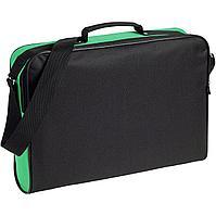 Сумка для документов Unit Metier, черная с зеленой отделкой (артикул 7594.90)