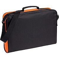 Сумка для документов Unit Metier, черная с оранжевой отделкой (артикул 7594.20)