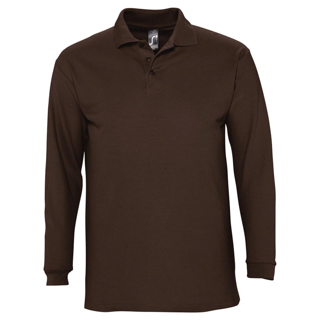 Рубашка поло мужская с длинным рукавом Winter II 210 шоколадно-коричневая (артикул 11353398) - фото 1