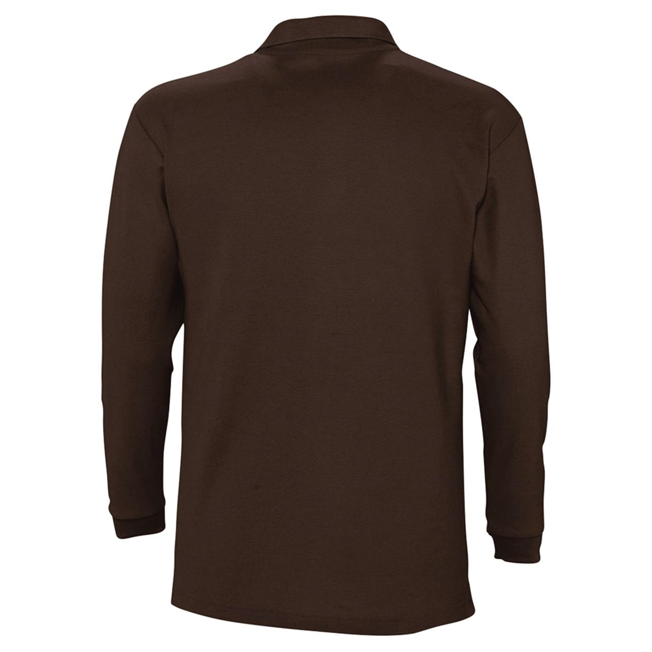 Рубашка поло мужская с длинным рукавом Winter II 210 шоколадно-коричневая (артикул 11353398) - фото 2