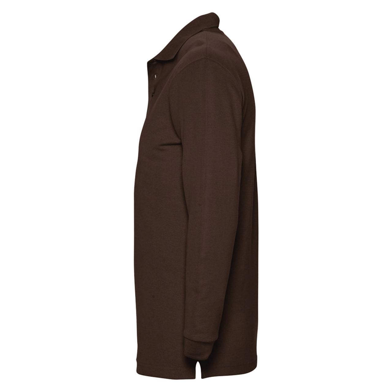 Рубашка поло мужская с длинным рукавом Winter II 210 шоколадно-коричневая (артикул 11353398) - фото 3
