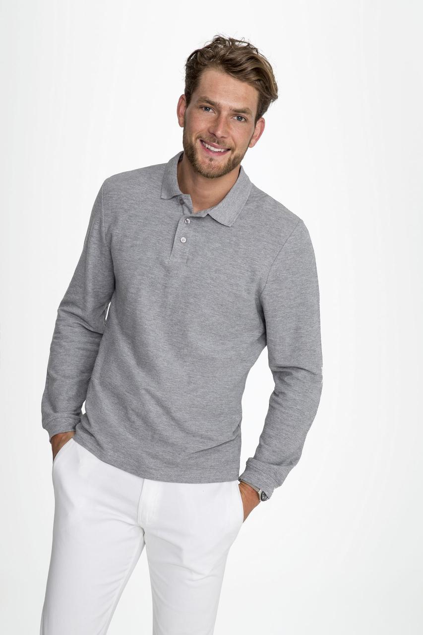Рубашка поло мужская с длинным рукавом Winter II 210 шоколадно-коричневая (артикул 11353398) - фото 4