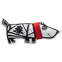 Игрушка «Собака в шарфе», большая, белая с красным (артикул 7795.65)