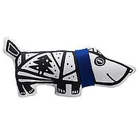 Игрушка «Собака в шарфе», большая, белая с синим (артикул 7795.64)