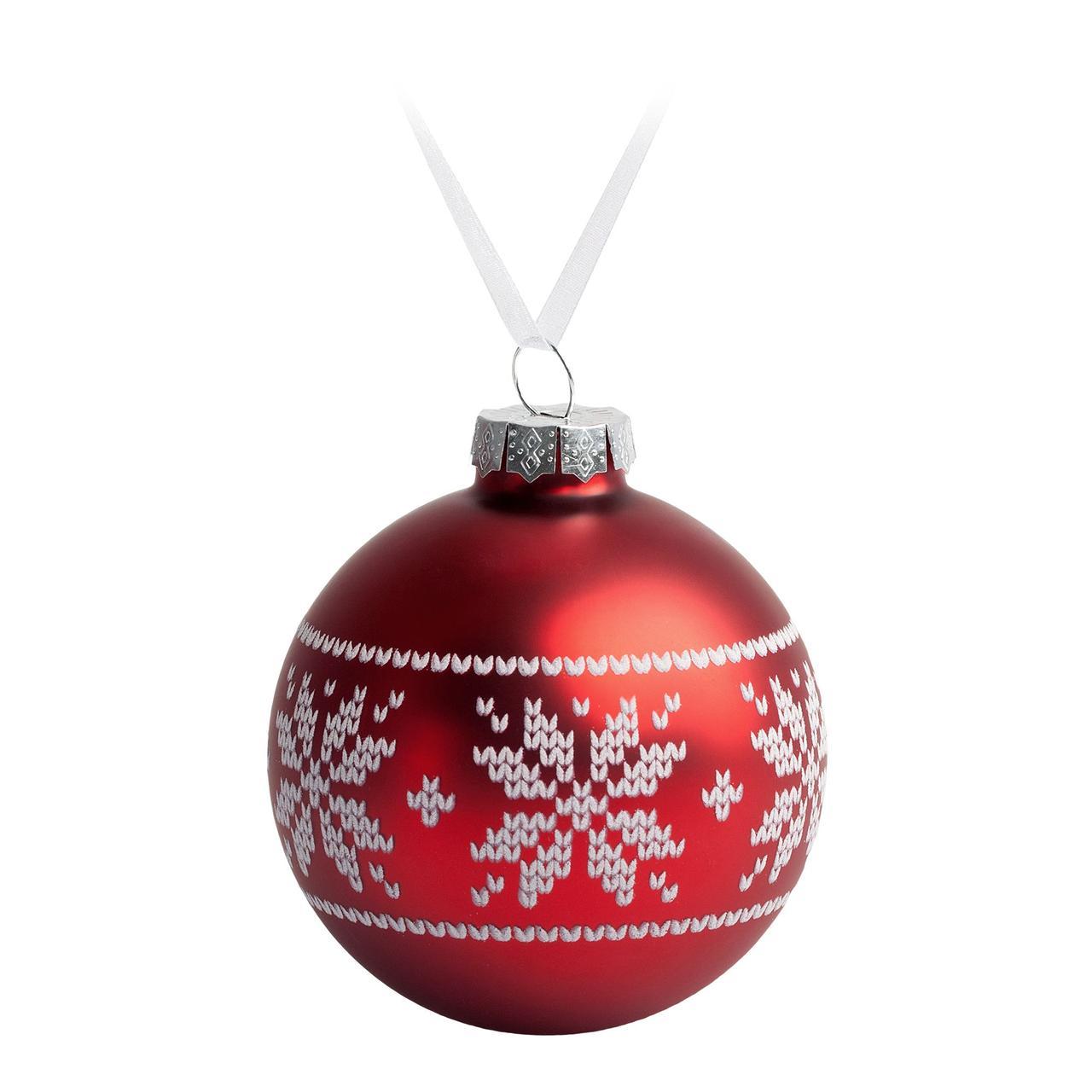 Елочный шар «Скандинавский узор», 8 см, красный (артикул 7297.50)