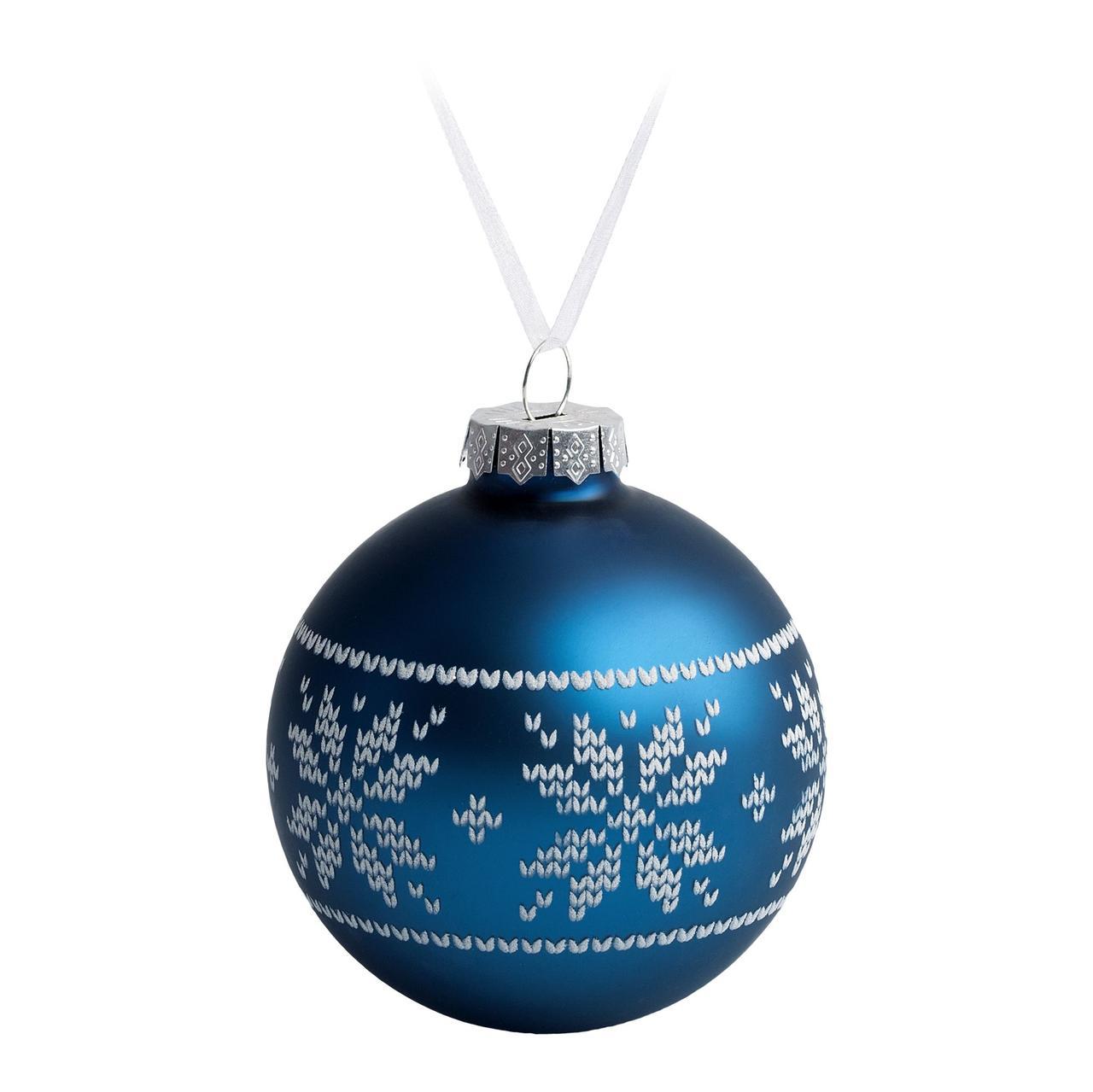 Елочный шар «Скандинавский узор», 8 см, синий (артикул 7297.40)