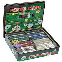 Покерный набор Poker Chips на 500 фишек с номиналом в мет. коробке
