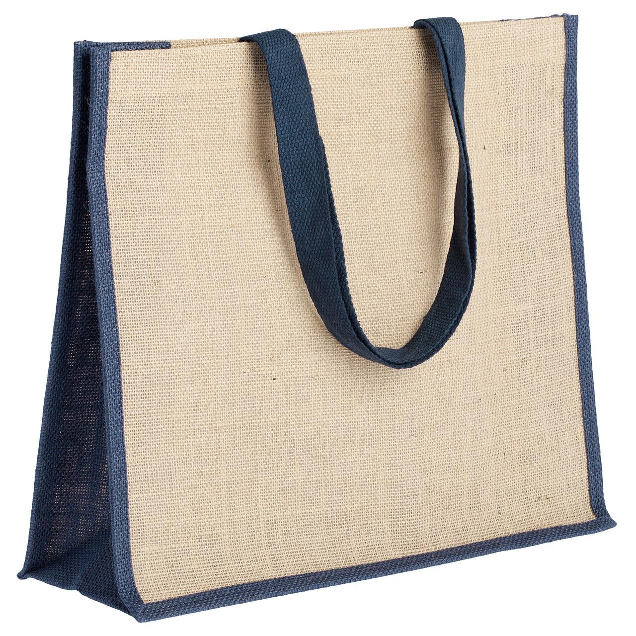 Холщовая сумка для покупок Bagari с синей отделкой (артикул 4866.40)