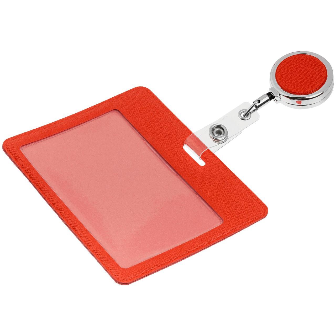 Чехол для карточки с ретрактором Devon, красный (артикул 11645.50)