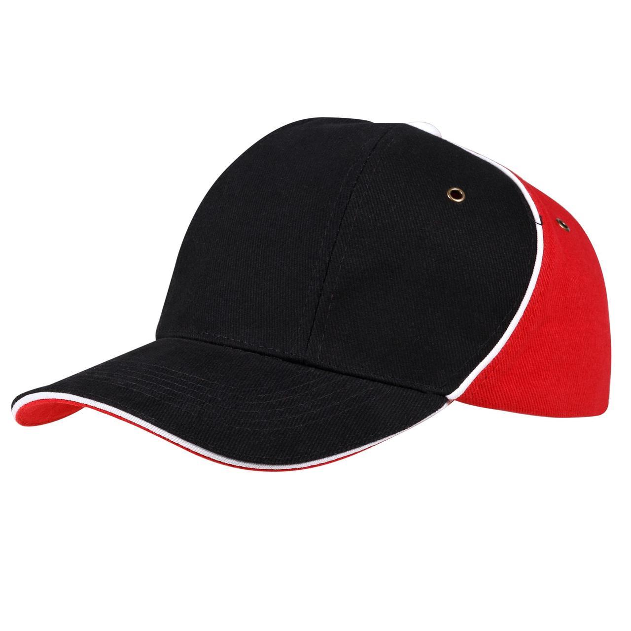 Бейсболка Unit Smart, черная с красным (артикул 4758.35)
