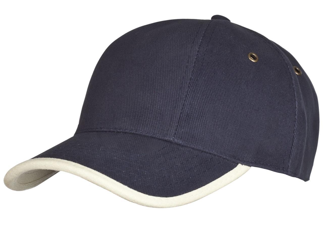 Бейсболка Unit Trendy, темно-синяя с бежевым (артикул 1849.71)