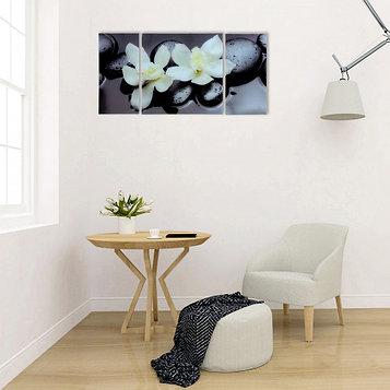"""Модульная картина на стекле """"Пара орхидей""""  2-25*50см, 1-50*50см 100*50см"""