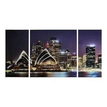 """Картина модульная на стекле """"Сидней""""  2-25*50см, 1-50*50см  100*50см"""