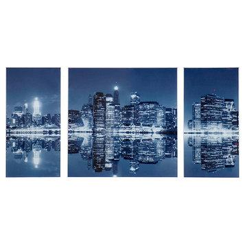 """Картина модульная на стекле """"Ночной город""""  2-25*50см, 1-50*50см,  100*50см"""