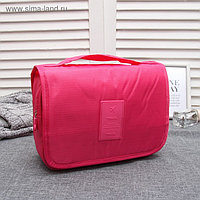 Косметичка дорожная, 2 отдела с карманами на липучке, крючок, цвет малиновый