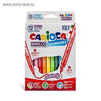 Фломастеры двусторонние 12 цветов, Carioca Birello 2.6/4.7 мм, в картонной коробке