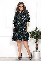 Женское осеннее шифоновое черное большого размера платье Solomeya Lux 800 черный-бирюза 48р.