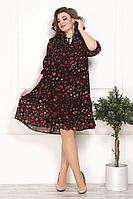 Женское осеннее шифоновое черное большого размера платье Solomeya Lux 800 черный-красный 48р.