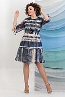 Женское летнее шифоновое синее нарядное большого размера платье Avanti Erika 1185 46р.