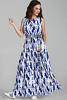 Женское летнее шифоновое синее большого размера платье Teffi Style L-1484 молочно-синий 44р.