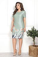 Женское осеннее зеленое нарядное большого размера платье Solomeya Lux 806 50р.