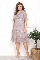 Женское осеннее розовое нарядное большого размера платье Solomeya Lux 797 розовый 48р.