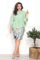 Женский осенний шифоновый зеленый нарядный большого размера комплект с платьем Solomeya Lux 786 зелень 50р.
