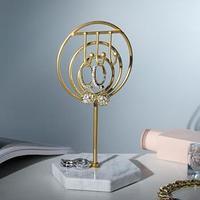 Подставка для украшений 'Круг с крючками' h19, основа 10, цвет золото