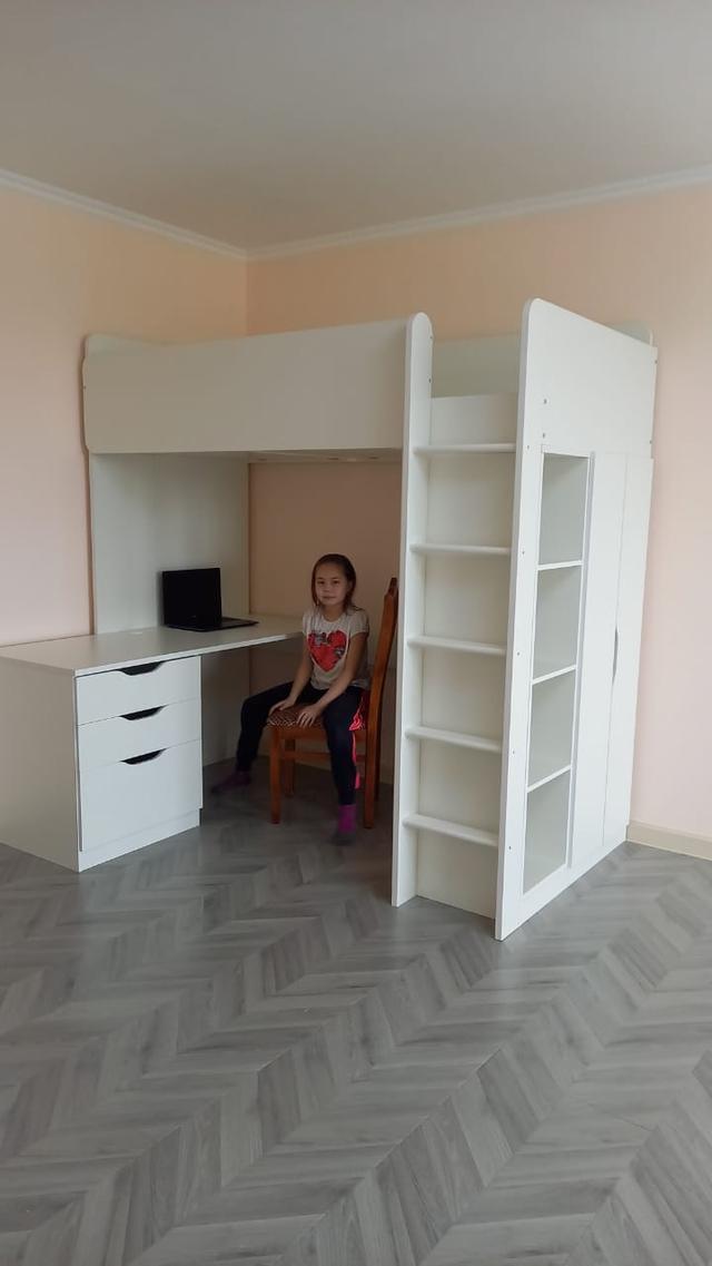 Детская кровать чердак Polini 5 в 1 со столом и шкафом белый