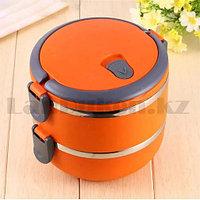 Ланч бокс для еды контейнер пищевой 2 секции (Two layers) 1,4 л оранжевый