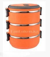 Ланч бокс для еды контейнер пищевой 3 секции (Three layers) 2,1 л оранжевый