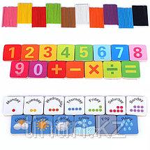 Набор счетных палочек в комплекте с магнитными цифрами и маркером, в железной банке, фото 3