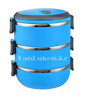 Ланч бокс для еды контейнер пищевой 3 секции (Three layers) 2,1 л голубой