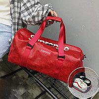 Сумка спортивная дорожная с боковым карманом для обуви и плечевыми ремнями кожаная 2004 50*27*21 см красная