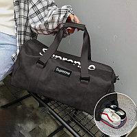 Сумка спортивная дорожная с боковым карманом для обуви и плечевыми ремнями кожаная 2004 50*27*21 см коричневая