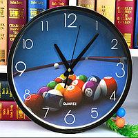 Часы настенные круглые диаметр 30 см Quartz черные с синим циферблатом и бильярдными шарами