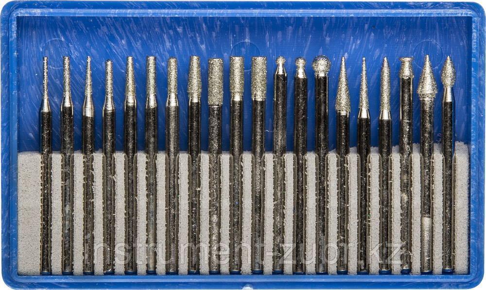 Набор ЗУБР: Мини-насадки с алмазным напылением в пластиковом боксе, P=180, хвостовик d=3мм, 20 предметов
