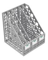 """Лоток пластиковый вертикальный для документов А4 """"Стамм"""" сборный, 5 отделений, серый"""